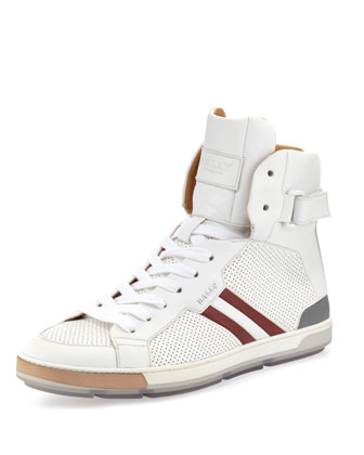 Perforated High-Top Sneaker, White