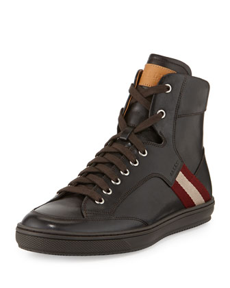 Oldani Leather High-Top Sneaker, Dark Brown