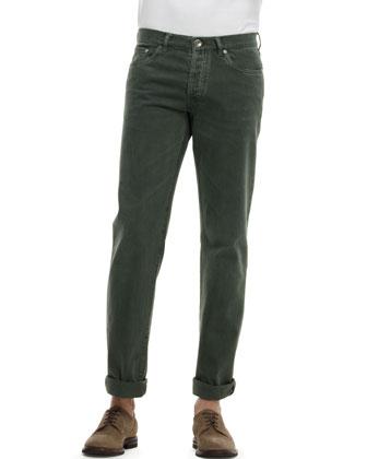 Basic-Fit 5-Pocket Denim Jeans, Green