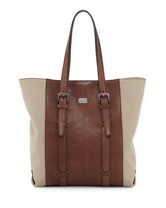 Canvas and Leather Tote Bag, Brown