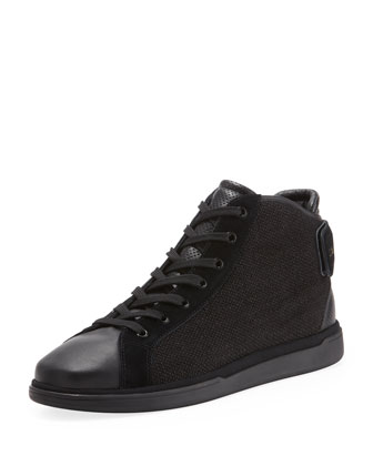 Canvas/Leather High-Top Sneaker with Grip Strap, Black