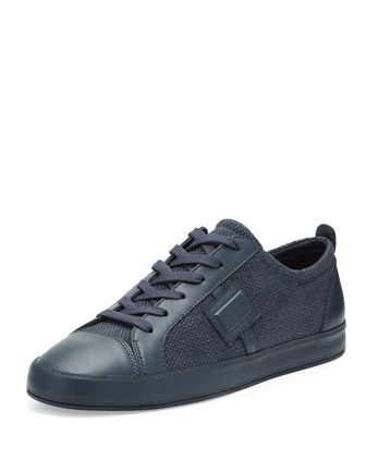 Canvas Logo Low-Top Sneaker, Navy
