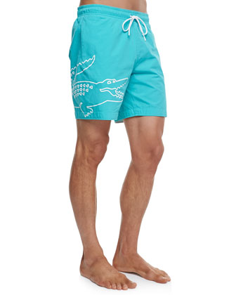 Oversized Crocodile Swim Trunks, Green