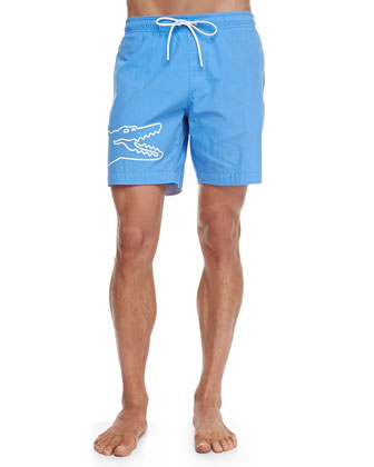 Oversized-Croc Swim Trunks, Blue