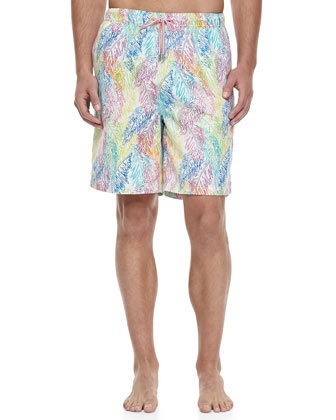 Palms-Print Swim Trunks, Multi