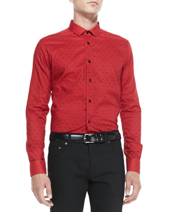 Triangle-Print Button-Down Shirt, Red