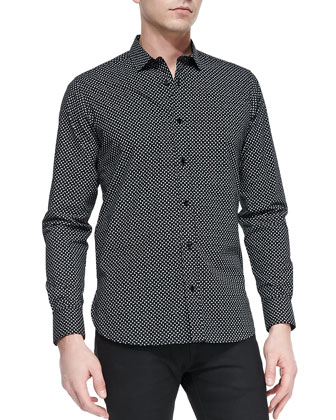 Dollar-Sign-Print Button-Down Shirt , Black/White
