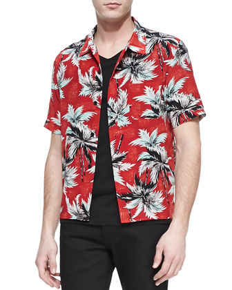 Palm Tree Printed Shirt, Red