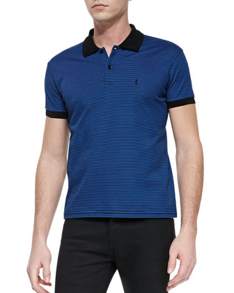 Striped Pique Polo, Blue/Black
