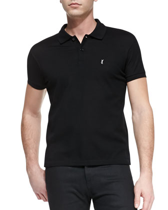 Short-Sleeve Pique Polo, Black