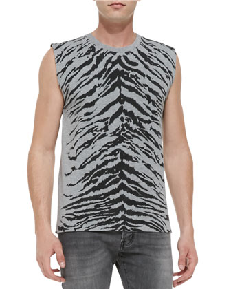 Zip Hoodie with Studded Trim, Tiger-Print Sleeveless Tee & 17.5cm ...