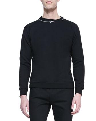 Zip-Collar Sweatshirt, Black
