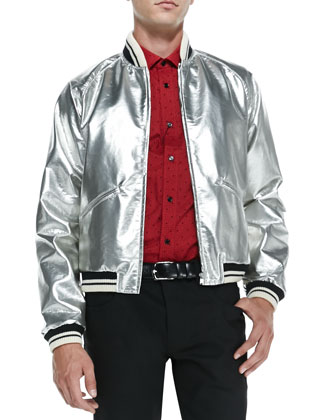 Teddy Faux-Patent Bomber Jacket, Silver