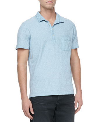 Burnout Slub Polo, Mist Blue