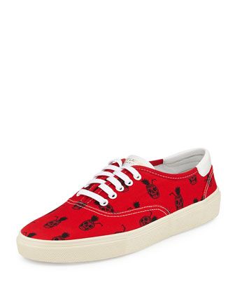 Pina Skullada Print Canvas Low-Top Sneaker, Red