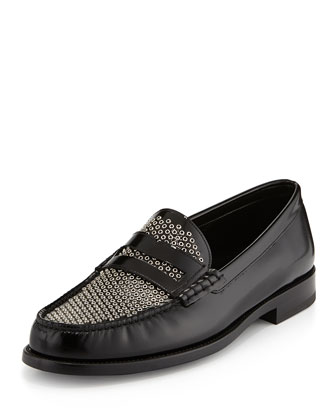 Studded Leather Penny Loafer, Black