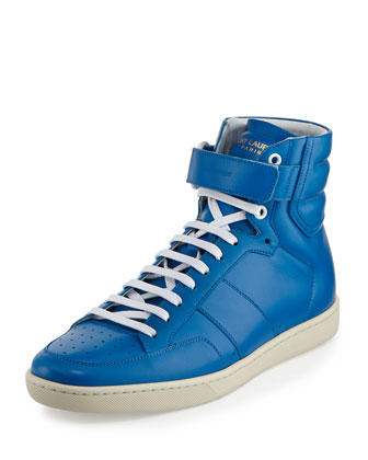 Leather High-Top Sneaker, Blue