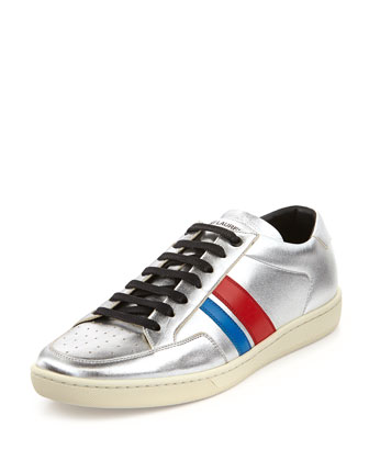 Metallic Two-Stripe Low-Top Sneaker, Silver