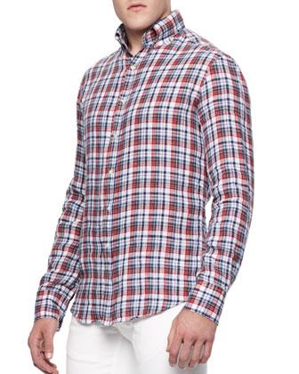 Buttoned Linen Check Shirt