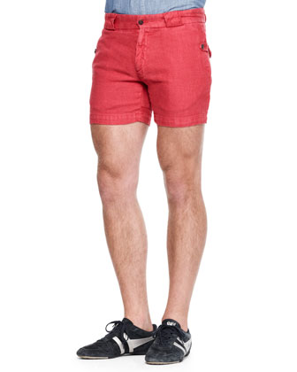 Fitted Linen Canvas Shorts