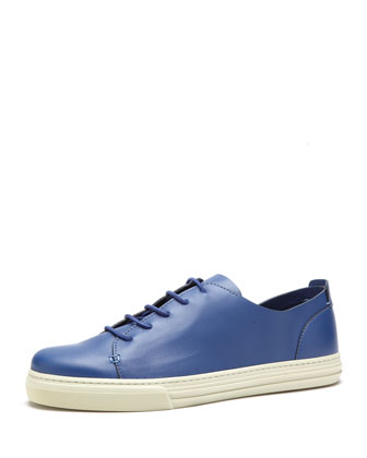 Leather Low-Top Sneaker, Blue