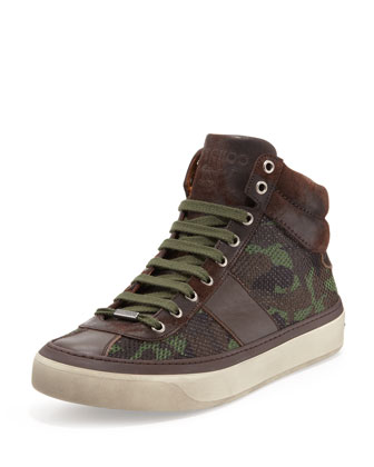 Belgravia Men's Camo-Glitter High-Top Sneaker, Green