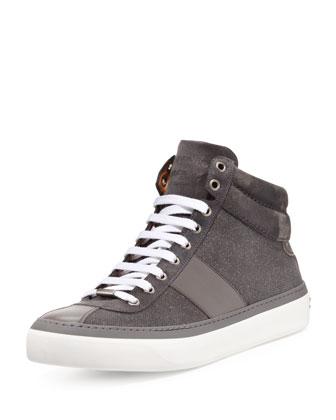 Belgravia Glitter-Suede Hi-Top Sneaker, Green
