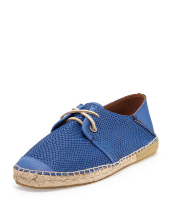 Viper-Embossed Leather Espadrille, Blue