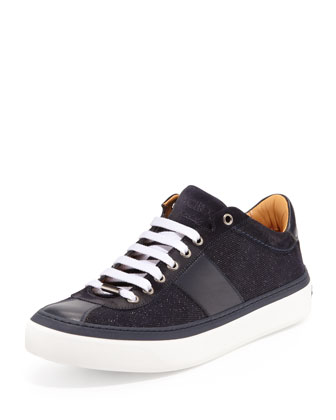 Portman Men's Glitter-Suede Low-Top Sneaker, Navy