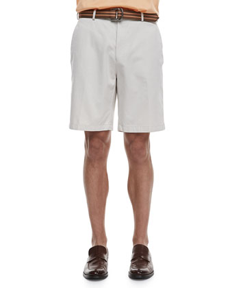 Lisle-Knit Cotton Polo & Winston Washed Twill Shorts