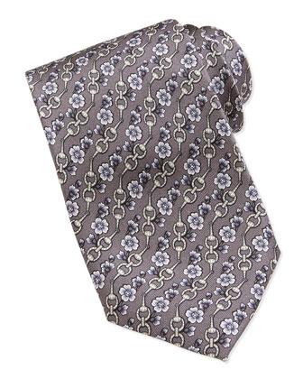Horse-Bit & Floral-Print Tie, Gray/Purple