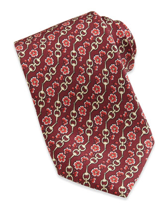 Horsebit and Floral-Print Silk Tie, Red