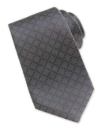 Woven Diamante Silk Tie, Dark Gray