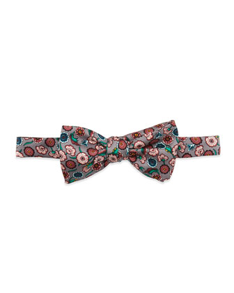 Floral-Print Silk Bow Tie, Gray/Pink