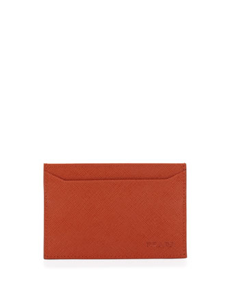 Saffiano Card Case, Orange