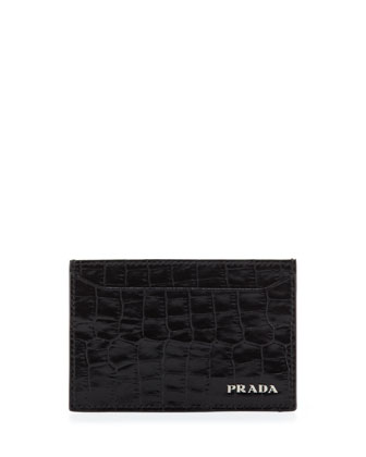 Croc-Print Card Case, Black