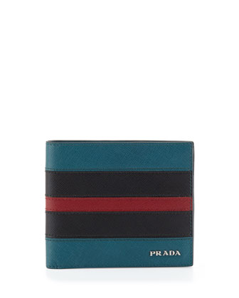 Tricolor Saffiano Leather Wallet, Multi