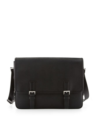 Men's Saffiano Leather Messenger Bag, Black