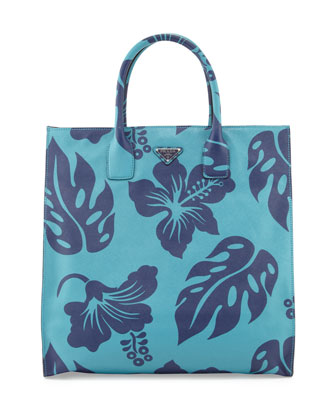 Men's Hibiscus-Print Saffiano Leather Tote Bag, Turquoise