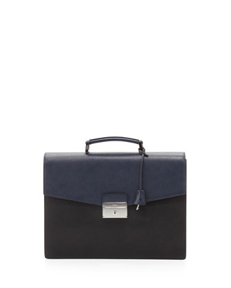 Saffiano Bicolor Double-Gusset Briefcase