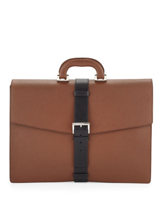 Saffiano Buckle-Strap Briefcase, Tan/Black