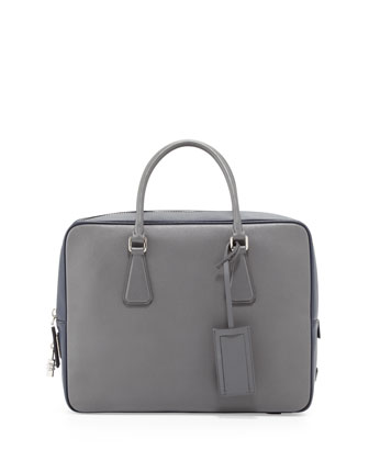 Saffiano Bicolor Zip-Around Briefcase, Gray/Blue