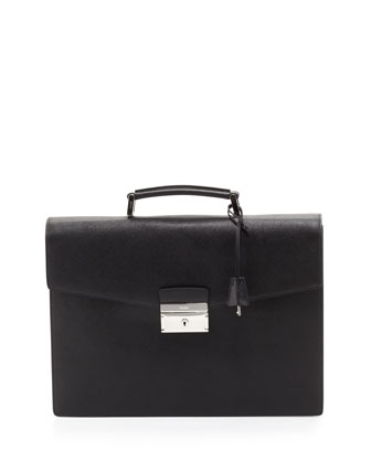 Saffiano Single-Gusset Briefcase