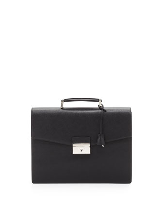 Saffiano Double-Gusset Briefcase