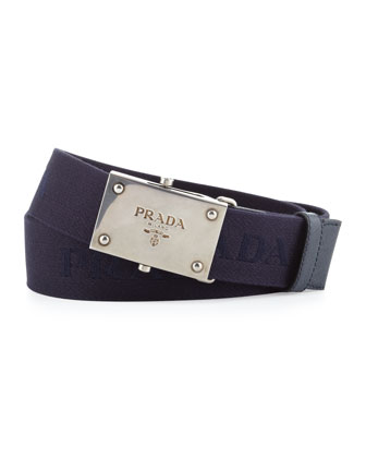 Webbed Logo Plaque Belt, Blue