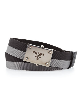 Bicolor Plaque Slider Belt, Black/Gray