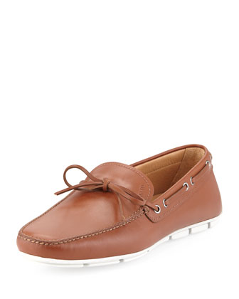 Leather Tie-Front Driver, Tan