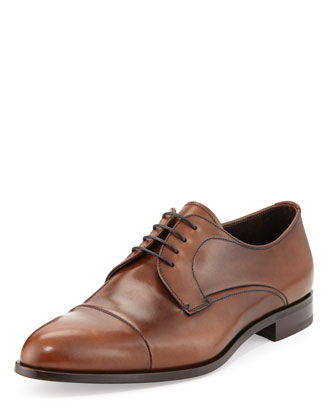 Calfskin Cap-Toe Lace-Up, Cognac