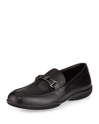 Plaque-Strap Calfskin Loafer