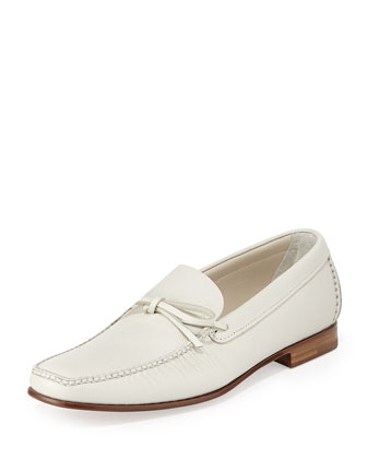 Saffiano Tie Loafer, White